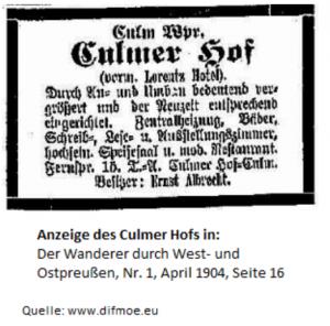 Culmer Hof - Anzeige aus dem Jahr 1904