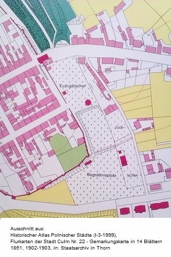 Lage des evangelischen und des jüdischen Friedhofs in Chełmno