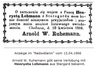 Verlobung Arnold Ruhemanns 1866 in Culm an der Weichsel