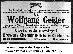 Todesanzeige Wolfgang Geiger