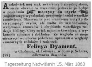 Diese Anzeige schaltete am 15. März 1863 die Schneiderin Felicya Dyament in der polnischen Tageszeitung Nadwiślanin