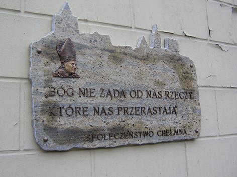 Gedenktafel für Papst Johannes Paul II. am Graudenzer Tor in Chełmno