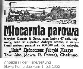 Unia Landmaschinenfabrik 1922