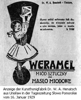 Anzeige des Unternehmens Dr. W. A. Henatsch aus Unisław im Landkreis Chełmno